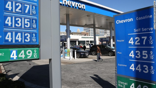 Gas prices over $4.00 a gallon are displayed at a Chevron gas station on March 1, 2013 in San Francisco, California.