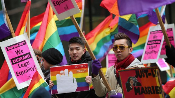 Gay rights activists gather on March 25 in Chicago.