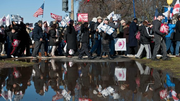 Opponents of same-sex marriage participate in Tuesday's March for Marriage.