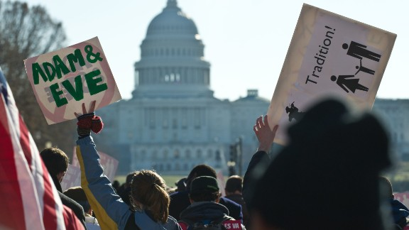 Opponents of same-sex marriage participate in the March for Marriage in Washington on Tuesday.