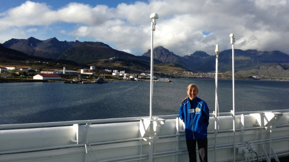 Winter boarded a ship in Ushuaia, Argentina, that will take her to Antarctica for her next marathon. Ushuaia is commonly regarded as the southernmost city in the world.