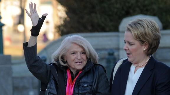 Windsor, left, arrives with her attorney Roberta Kaplan on Wednesday.
