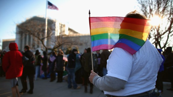 Crowds wait outside the Supreme Court on Wednesday.