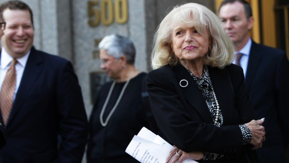 """Even though New York courts ruled that """"foreign same-sex marriages"""" should be recognized in 2009, Windsor was billed $363,053 in estate taxes after Spyer died that year. Windsor file suit. Here, after a hearing at the 2nd U.S. Circuit Court of Appeals in New York on September 27."""