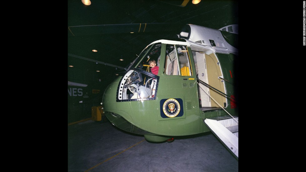 John Jr. sits in the cockpit of the presidential helicopter.