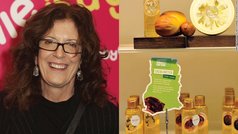 "<strong>Anita Roddick (1942-2007)</strong><br /><em>The Body Shop</em><br />Started: 1976<br /><br />Environmental activist and entrepreneur Anita Roddick opened her first beauty products store in the English seaside town of Brighton in 1976 to create an income for herself and her two daughters while her husband was trekking across the Americas. She claimed she chose the color green simply to hide the mold on her first shop, but The Body Shop soon became known for its green ideal. <br /><br />Former British Prime Minister Gordon Brown said when Roddick died of hepatitis C at the age of 64: ""She campaigned for green issues for many years before it became fashionable to do so and inspired millions to the cause by bringing sustainable products to a mass market.""<br /><br />The Body Shop was sold to L'Oriel in 2006 for $988million, and now has 2,500 stores in more than 60 countries worldwide."