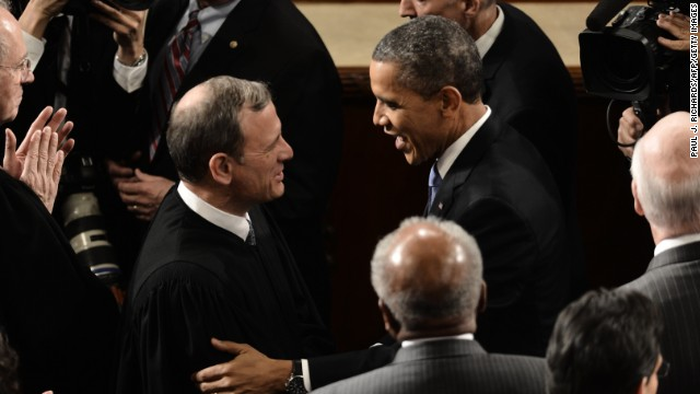 President Obama greets U.S. Chief Justice John Roberts before the State of the Union address on February 12.