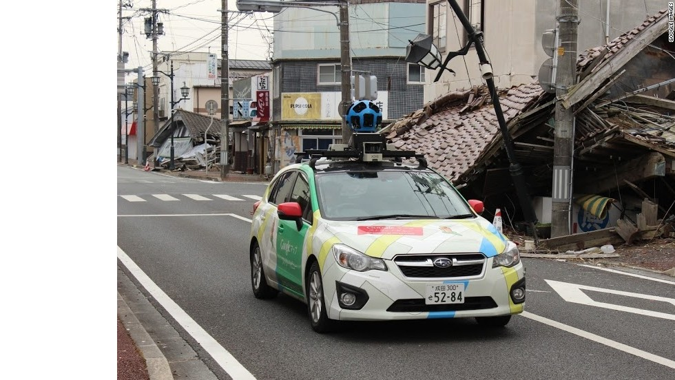 The Google Street View car takes images with its roof-mounted camera amid the devastation of Namie-machi.