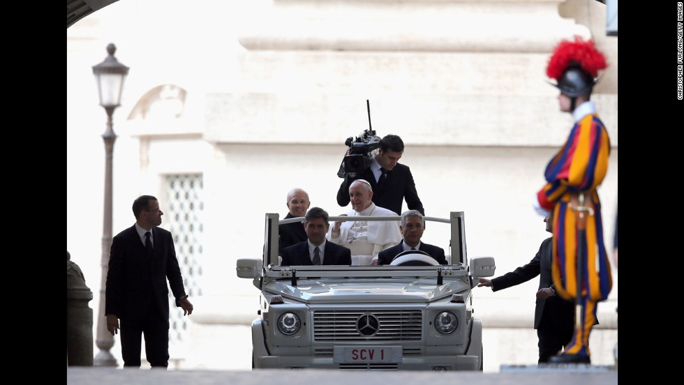 Pope Francis arrives in St. Peter's Square for his first weekly general audience as pope on Wednesday, March 27.