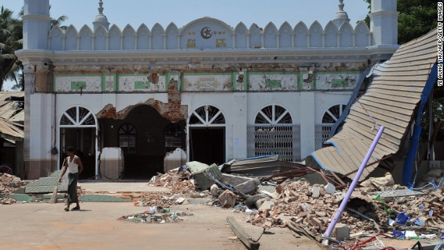 A heavily damaged mosque in is shown Thursday in the Myanmar town of Gyobingauk, in Bago division.