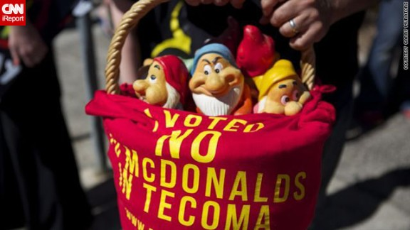 In one protest, campaigners placed garden gnomes on the steps of McDonald