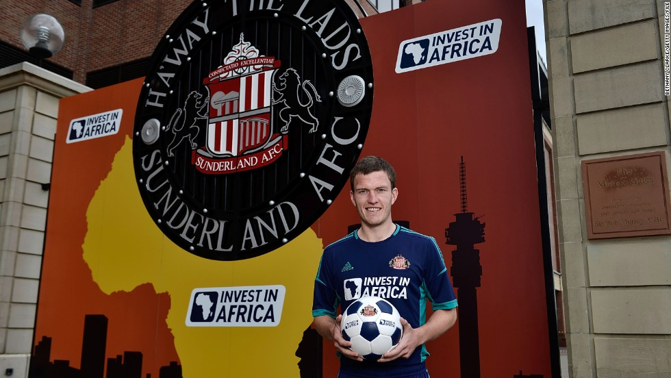 """The image of Africa is often one of poverty and conflict, but there is another reality,"" added Miliband at the time of the deal's signing. ""The African Investment Bank estimates there are 300 million middle-class people in Africa. This is the biggest international venture in the club's history."" Sunderland midfielder Craig Gardner is pictured here at the sponsorship launch."
