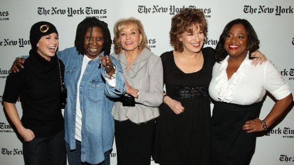"NEW YORK - JANUARY 08:  ""The View"" hosts Elizabeth Hasselbeck, Whoopi Goldberg, Barbara Walters, Joy Behar, and Sherri Shepherd attend the New York Times Art and Leisure Weekend at TheTimesCenter on January 8, 2009 in New York City.  (Photo by Stephen Lovekin/Getty Images) *** Local Caption *** Elizabeth Hasselbeck;Whoopi Goldberg;Barbara Walters;Joy Behar;Sherri Shepherd"