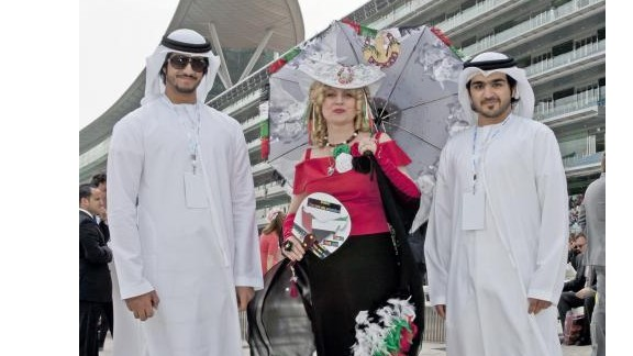 The unique Middle Eastern setting mean sheiks in traditional dress rub shoulders with scantily-clad fashionistas over the 11-day carnival.