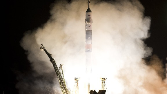 The Soyuz TMA-08M spacecraft blastws off from Kazakhstan