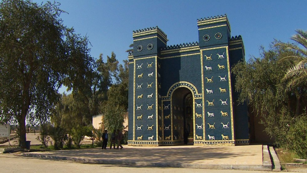 Babylon's Ishtar Gate, decorated with images of dragons and aurochs, is a replica -- the original is part of a reconstruction in Berlin's Pergamon Museum