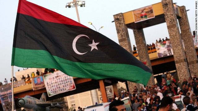 New Libyan flag raised in Benghazi to celebrate the second anniversary of Nato's first military operation in Libya.