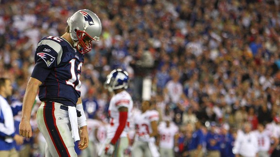 Tom Brady and the New England Patriots were two minutes from being the first team to go undefeated through a 16-game regular season and the playoffs. The New York Giants stages a late comeback in the 2008 Super Bowl to dash their hopes.