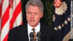 President Bill Clinton addresses the nation from the Rose Garden of the White House on December 11, 1998.