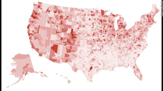 Profile picture changes were concentrated in large cities and college towns, according to Facebook.