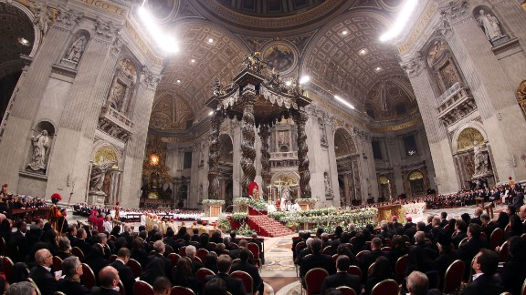 Pope Francis speaks during the Holy Saturday Easter vigil mass.