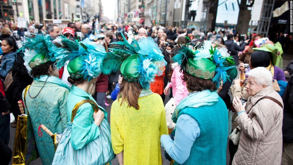 Revelers participate in the annual Easter Day procession on Fifth Avenue in New York City on March 31. The annual festivities attract hundreds of New Yorkers gathering in front of St. Patrick's Cathedral wearing colorful hats and costumes celebrating one of the holiest days in the Christian calendar.