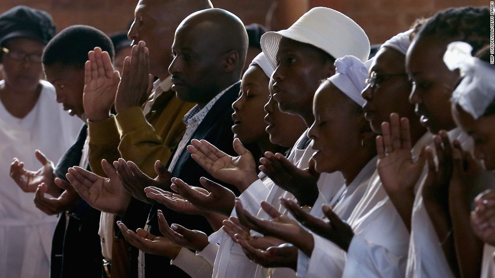 Congregants pray during Easter services at Regina Mundi Catholic Church in the Soweto area of Johannesburg, South Africa, on March 31.