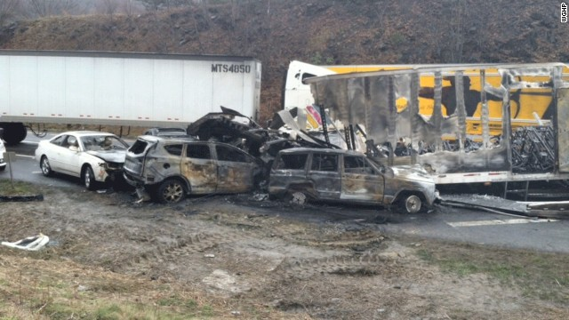 Authorities said three people are dead and more than 25 injured after a 75-vehicle pileup Sunday on I-77 South in Southwest Virginia near the North Carolina line.