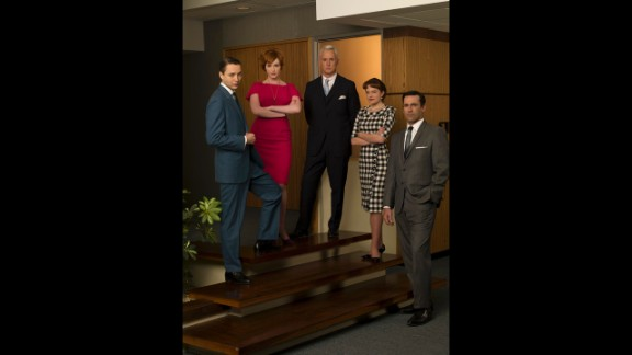 The cast in the Sterling Cooper office. From left, sales exec Pete Campbell (Vincent Kartheiser), Joan, Roger, Peggy and Don.