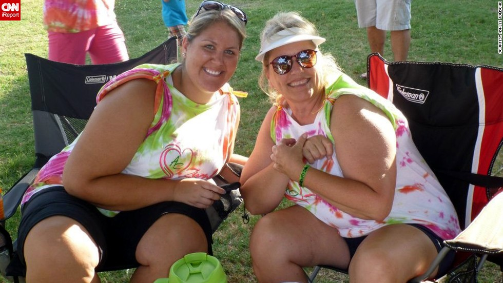 "Tomsche's mother, Terri, has also jumped on the Zumba train. They participated in a <a href=""http://www.relayforlife.org/"" target=""_blank"">Relay for Life</a> event with other members from their class in June 2012.<br />"