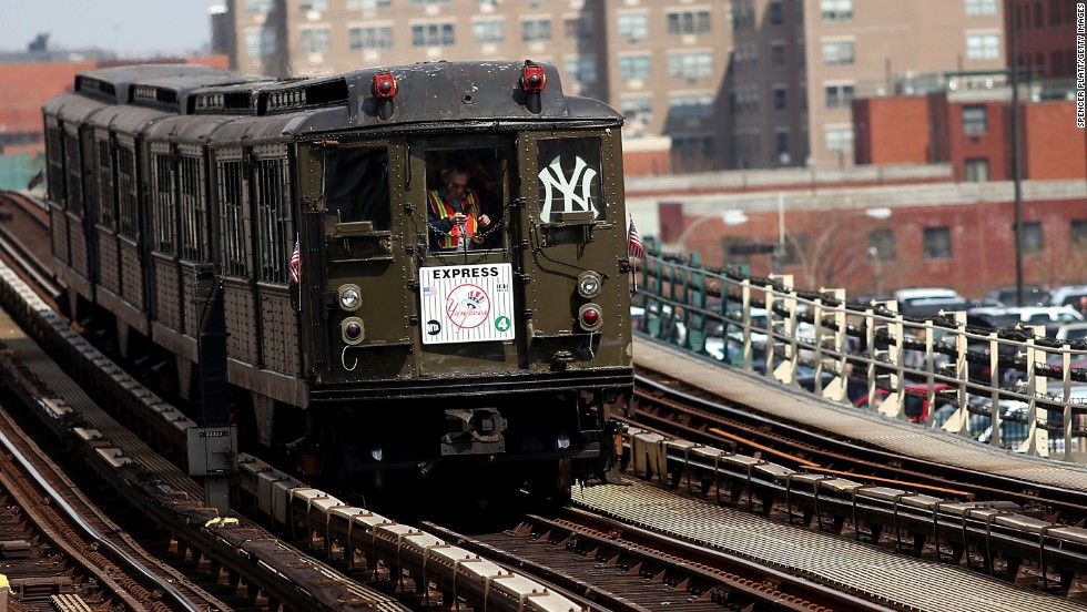 "A special ""Yankee Express"" train travels from Grand Central Terminal to the Yankee Stadium stop on Opening Day."