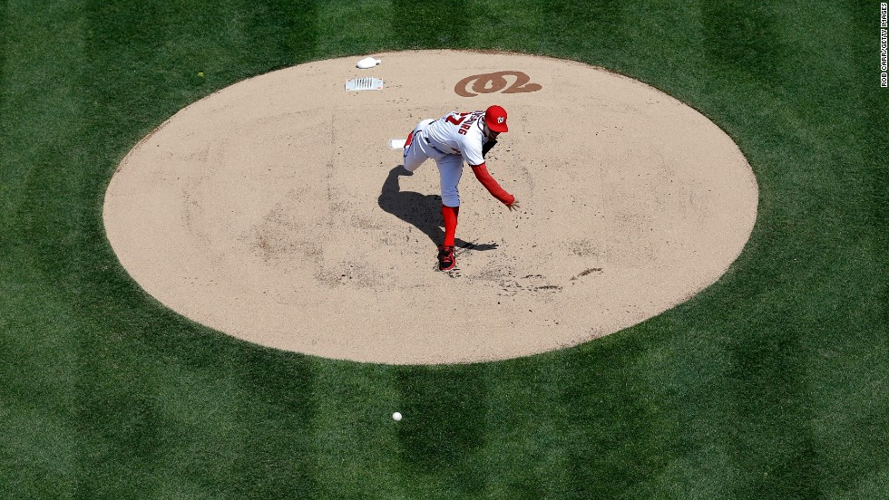 Pitcher Stephen Strasburg of the Washington Nationals throws against the Miami Marlins on April 1 at Nationals Park in Washington. The Nationals defeated the Marlins 2-0.