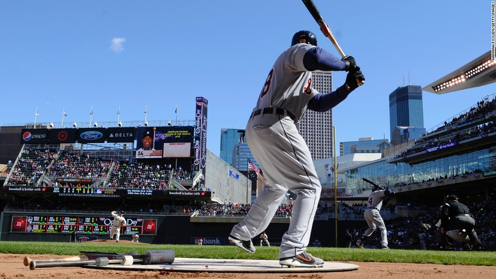 Tori Hunter of the Detroit Tigers stands on deck while the first pitch is thrown during the Opening Day game against the Minnesota Twins in Minneapolis. The Tigers won 4-2.