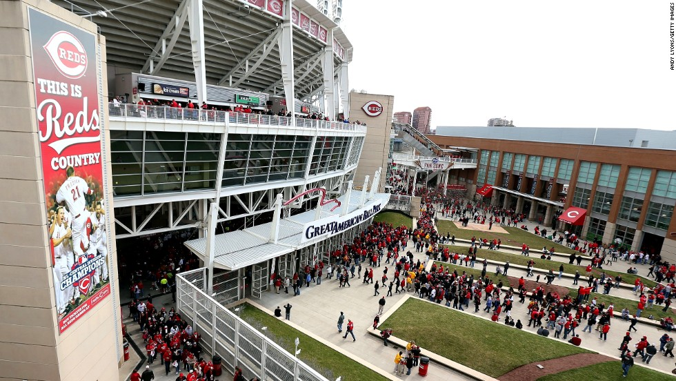 Fans file into the Great American Ball Park in Cincinnati before the Reds game against the Angels.