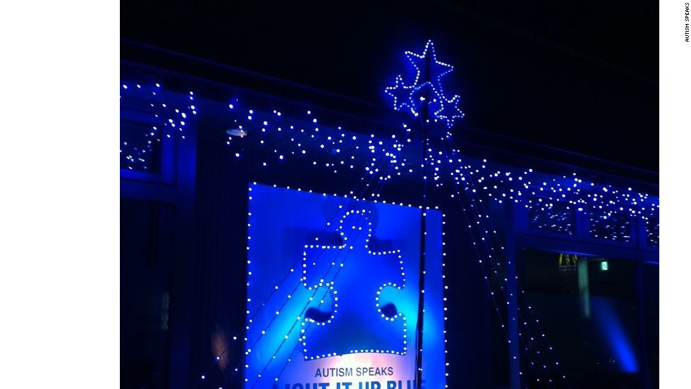 The Horiguchi Clinic in Hokkaido, Japan, lights up for the 2012 World Autism Awareness Day.