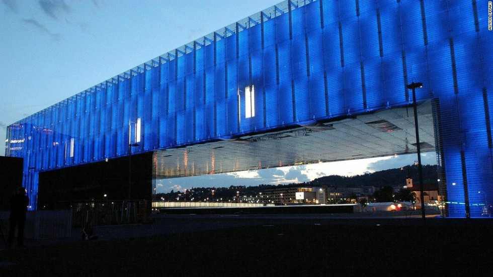 The LENTOS Kunstmuseum in Linz, Austria, lights up for the 2012 World Autism Awareness Day.