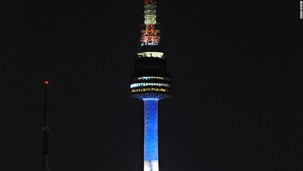 The North Seoul Tower in Seoul, South Korea, lights up blue for the 2012 World Autism Awareness Day.