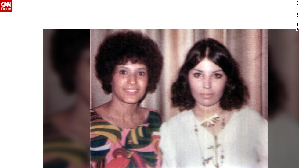 "<a href=""http://ireport.cnn.com/docs/DOC-947498"">Miriam Cintron</a>, right, used an iron and an ironing board to straighten her hair in 1968. ""I preferred a more hippie look, but as I said, a clean hippie, not a shoeless one,"" she says."