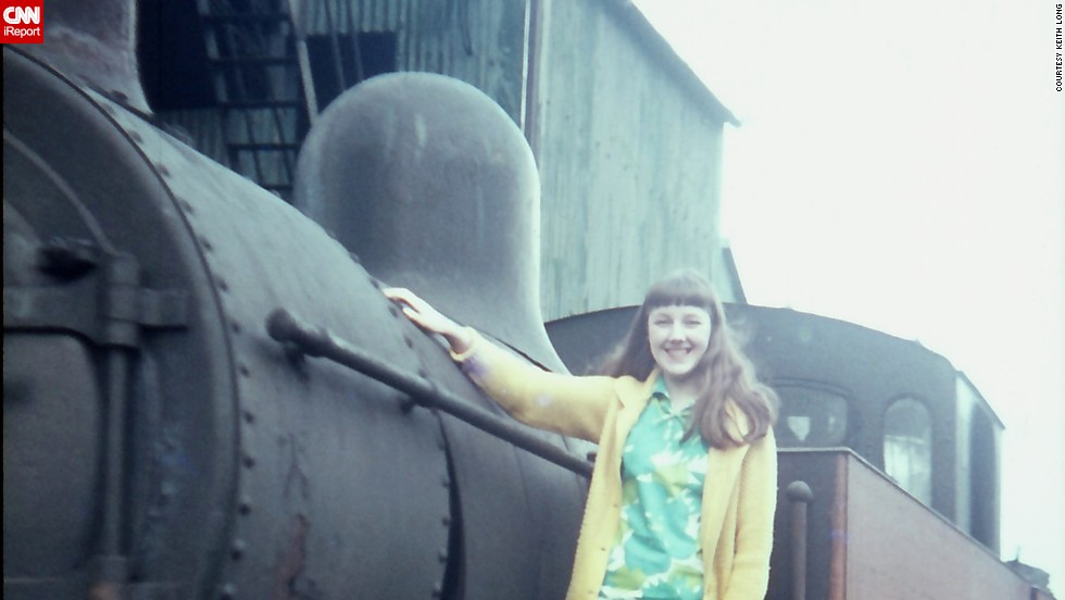"<a href=""http://ireport.cnn.com/docs/DOC-948800"">Keith Long</a> took this picture of his wife in 1969 on the running board of a steam engine in England. ""Sixties fashion was a changing decade -- very dated in the early part and trendy and totally different at the end,"" Long says."