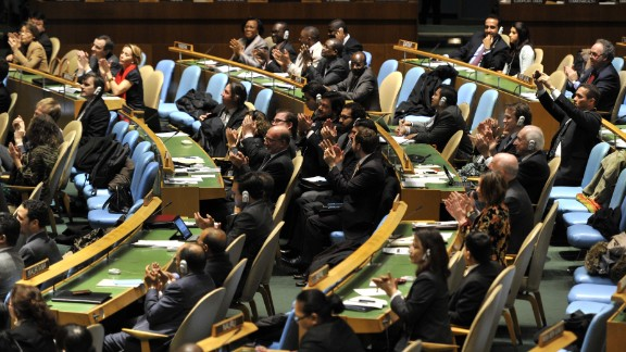 U.N. General Assembly delegate applaud the passage of the first U.N. treaty regulating the international arms trade on Tuesday.