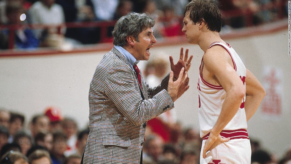 In March 2000, a video was released of Indiana head basketball coach Bobby Knight choking former player Neil Reed. After more claims were made, the hot-headed coach was fired. Here, Knight talks to Indiana player Ted Kitchel during a game against Northwestern University in February 1983.