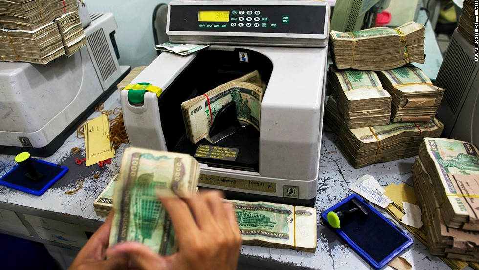 "There are few ATMs in Myanmar, so visitors need to bring plenty of U.S. dollars. The higher the denomination, the better the exchange rate. This whole stack of kyat (pronounced ""chat"") is worth about US$20."