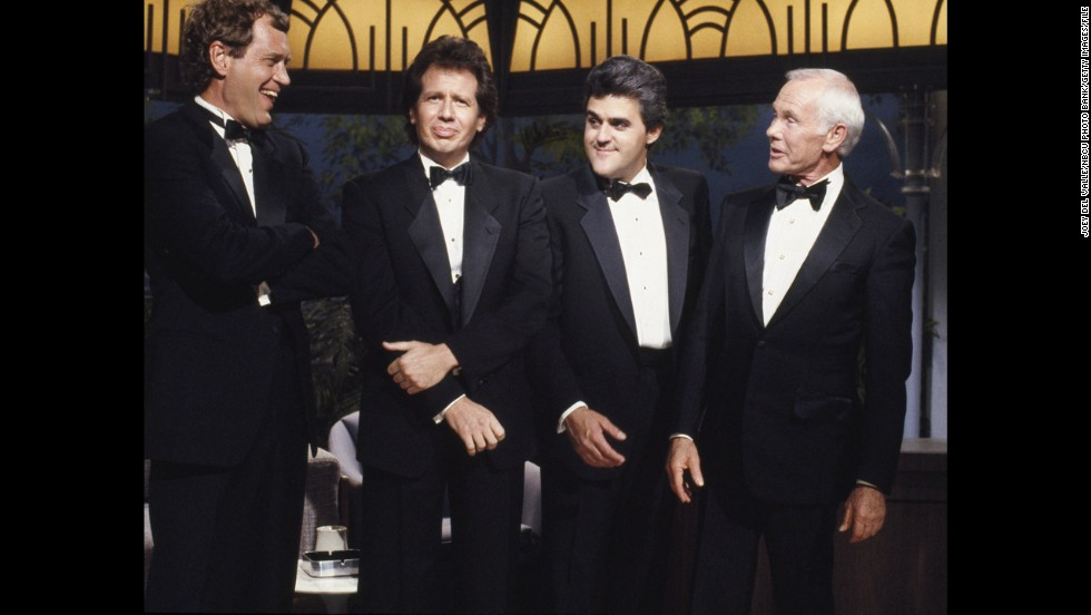 "From left, funnymen David Letterman. Garry Shandling, Leno and Carson appear in October 1988 for the 26th anniversary of Carson on ""The Tonight Show."" Many had expected Letterman would take over the show when Carson retired four years later."