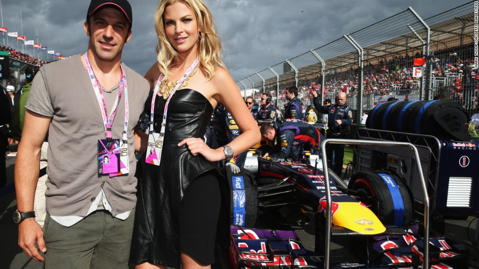 Former Juventus and Italy star Alessandro Del Piero poses on the grid at the Australian Grand Prix Melbourne.