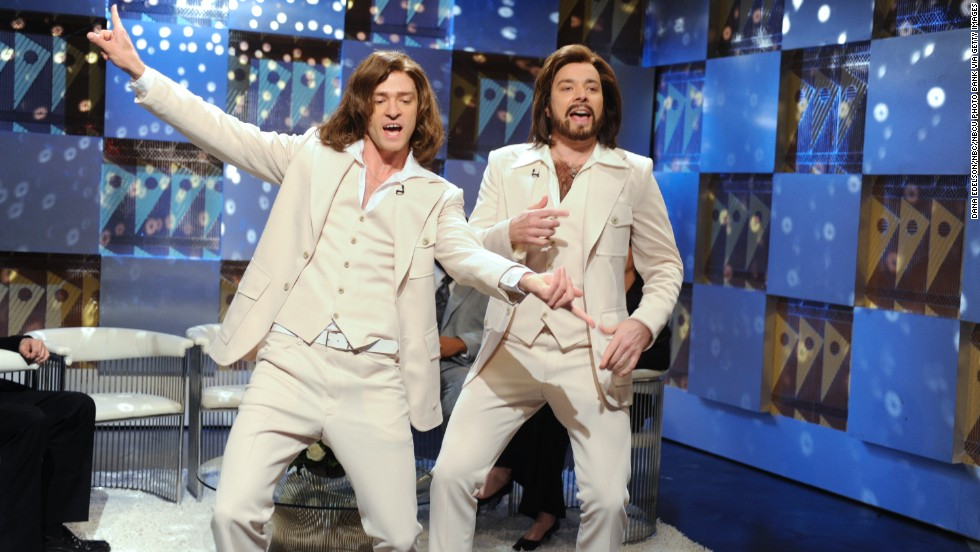 "Justin Timberlake as Robin Gibb and Fallon as Barry Gibb during the ""Barry Gibb Talk Show"" skit on ""Saturday Night Live"" in May 2009."