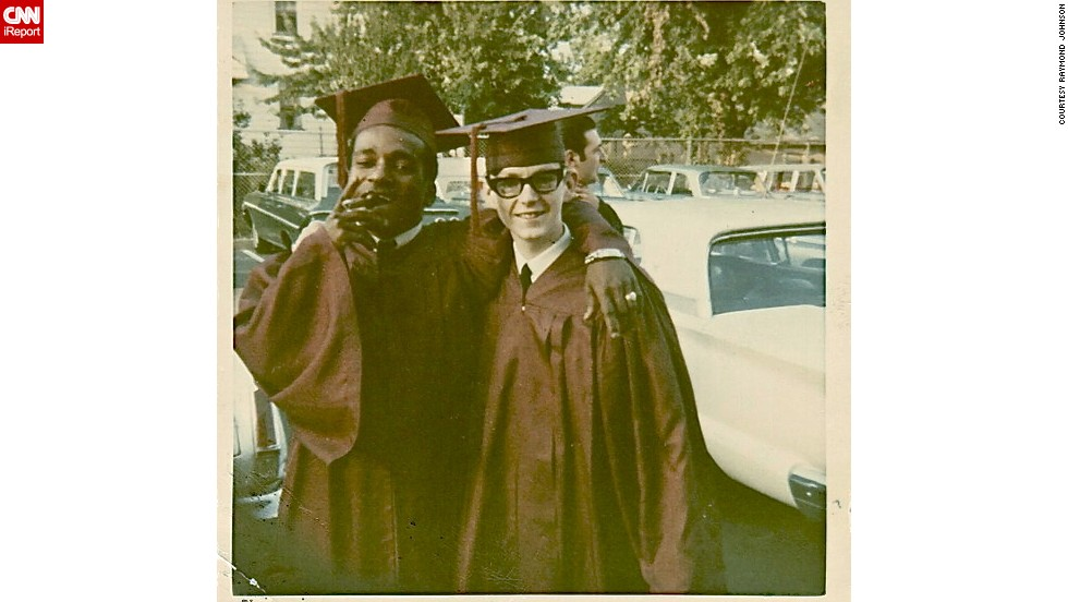"<a href=""http://ireport.cnn.com/docs/DOC-947653"">Raymond Johnson</a>, right, poses with his friend on their high school graduation day in 1968. ""There are no dress codes today, so young people are free to choose what they like and feel is most comfortable,"" he says. ""That in itself is a giant leap from the '60s."""
