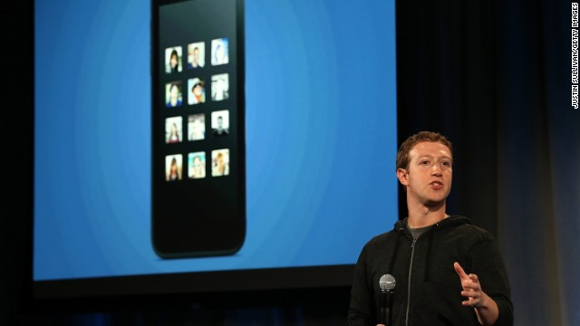 Facebook CEO Mark Zuckerberg launches a product called Facebook Home at its company headquarters on April 4, 2013.