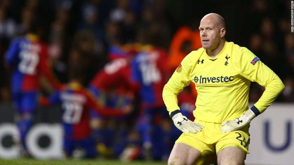Tottenham goalkeeper Brad Friedel was left in shock after Basel grabbed its second of the game just five minutes later when Fabian Frei headed home to claim another away goal.