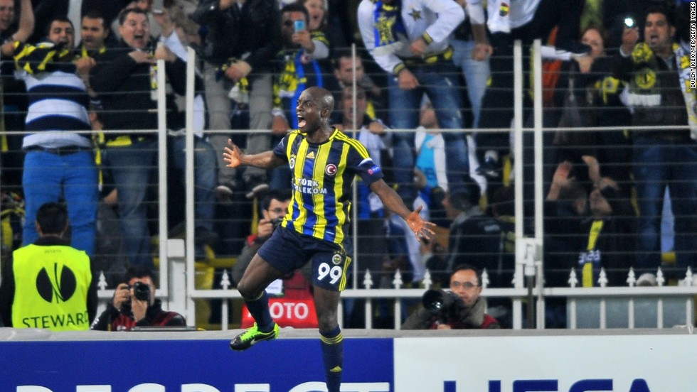 Pierre Webo's penalty 12 minutes from time and Dirk Kuyt 's stoppage  time strike gave Fenerbahce an impressive 2-0 win over Lazio in Istanbul. The Italian side was forced to play with 10-men after Ogenyi Onazi was shown the red card three minutes after the break.
