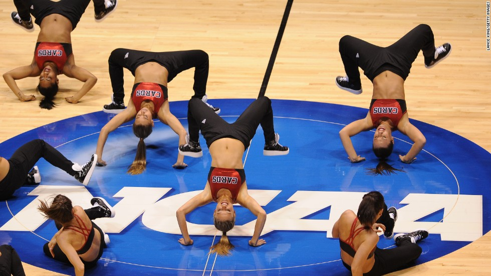 Louisville Cardinals cheerleaders perform during a game against the Oregon Ducks on March 29 in Indianapolis.